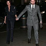 Victoria Beckham Blue Snakeskin Blouse With David Beckham