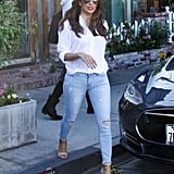 Eva Longoria Wears Jeans and a White Shirt