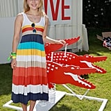 AnnaSophia Robb sported stripes at the outdoor soiree.