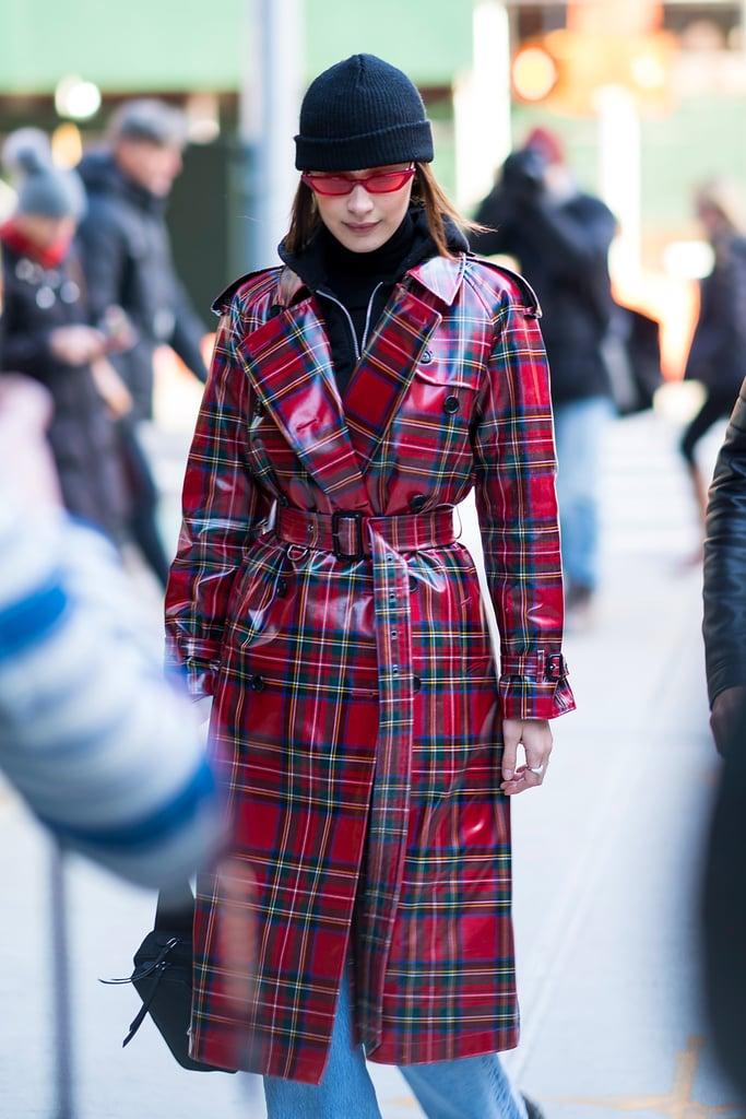 Bella Hadid's Red Burberry Coat