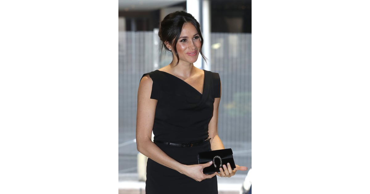 8ace669fb3f  Meghan Markle Carrying a Gucci Dionysus Suede Super Mini Bag in Black