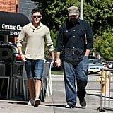 Zac Efron Stops For Lunch in Shorts and a 'Stache