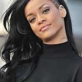 Rihanna showed off her new dark hair at a Battleship photocall in Japan.