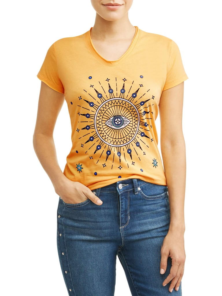 Evil Eye Short Sleeve V-Neck Graphic T-Shirt