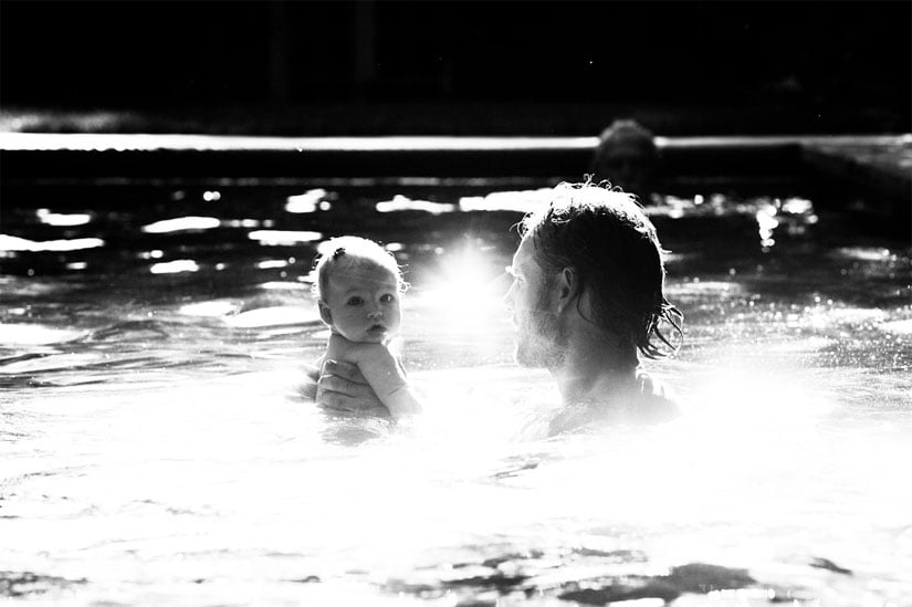 Jessica Simpson shared a sweet snap of Eric Johnson and baby Maxwell taking a swim. Source: Jessica Simpson