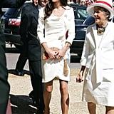 Kate's white, ruffle-finished dress from Reiss made for her most memorable outfit. She added a touch of red with a Sylvia Fletcher for Lock & Co. fascinator and woven Anya Hindmarch clutch — a fashion-girl favorite.