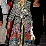 Queen Sofía in a Multicolored Dress, August 2010