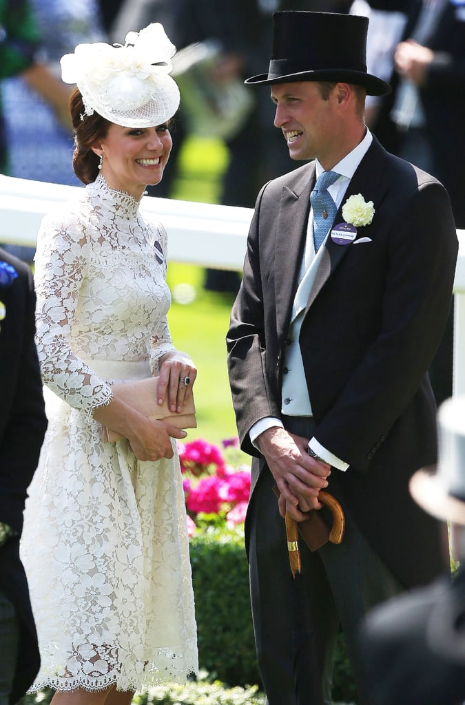 Prince William and Kate Middleton got all dolled up as they attended the the first day of Royal Ascot horse races. Despite the sweltering temperatures, the royal couple put on their best smiles as they arrived at the annual horserace event in a carriage. While Kate channeled her inner Eliza Doolittle with a white lace Alexander McQueen dress similar to Audrey Hepburn's in My Fair Lady, her husband, who turned 35, looked extremely handsome in a top hat and a long tail coat suit. Seriously, something about his traditional garb makes him look even more attractive than usual. If you don't believe us, see the pictures for yourself.