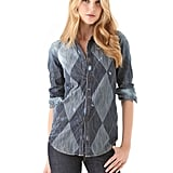 DSquared's denim argyle blouse ($336, originally $560) is a seriously cool take on the preppy print. The subtle pattern can be worn, as pictured, in a Canadian tuxedo iteration, or pair the top with wine-colored wax jeans and black patent d'Orsay pumps for a more dressed-up vibe.