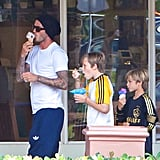 David, Brooklyn, and Romeo Beckham cooled off with a frozen treat.