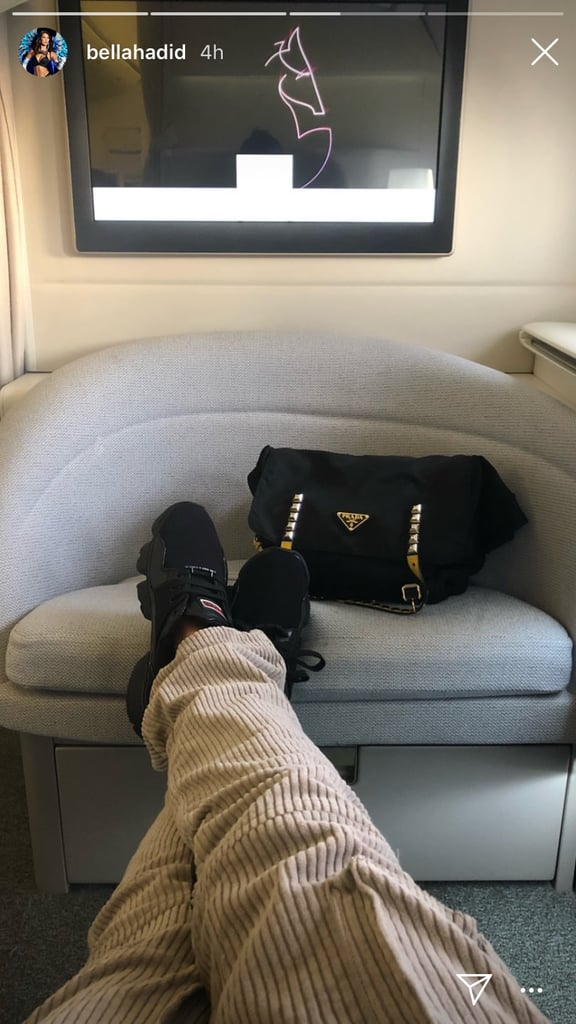 Bella Hadid Got Ready to Jet Off With Her Prada Duffel
