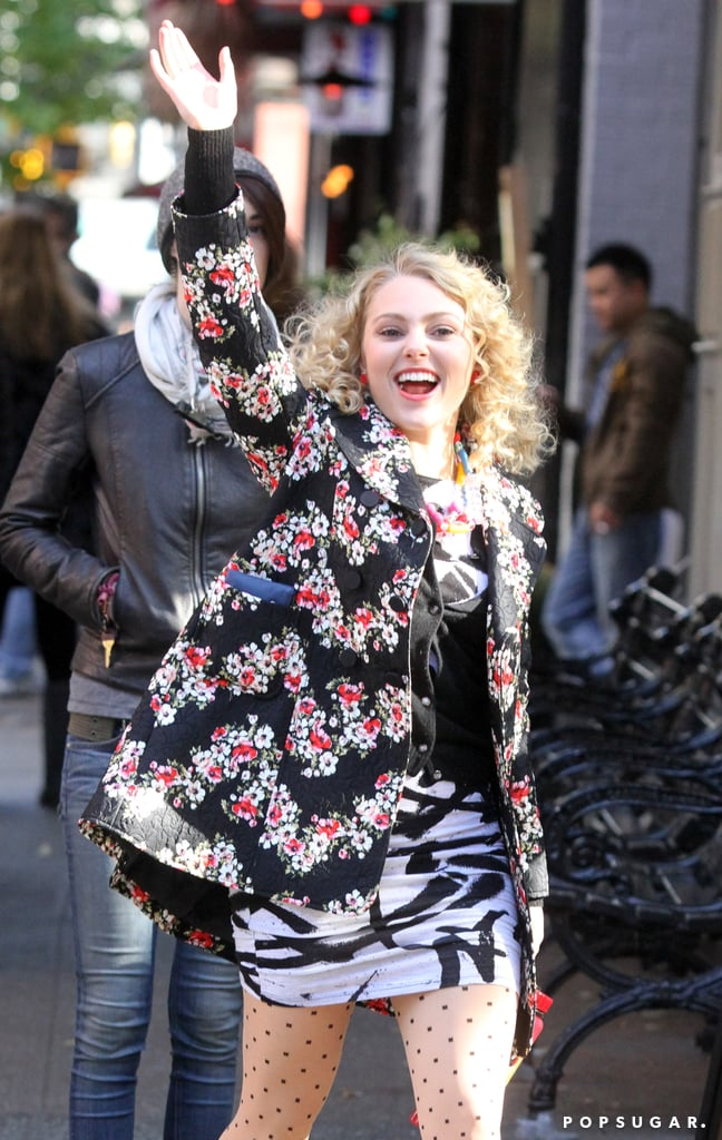AnnaSophia Robb continued working on the third season of The Carrie Diaries in NYC on Monday.