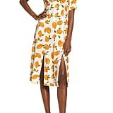 CODEXMODE Lemon Print Slit Hem Midi Dress