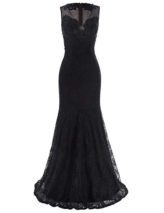 Kate Kasin Sleeveless V-Neck Lace Dress
