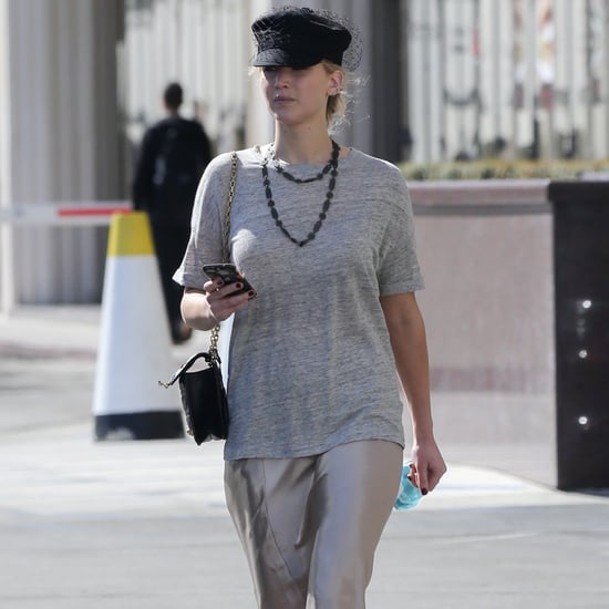 Jennifer Lawrence Wearing Gray T-Shirt and Slip
