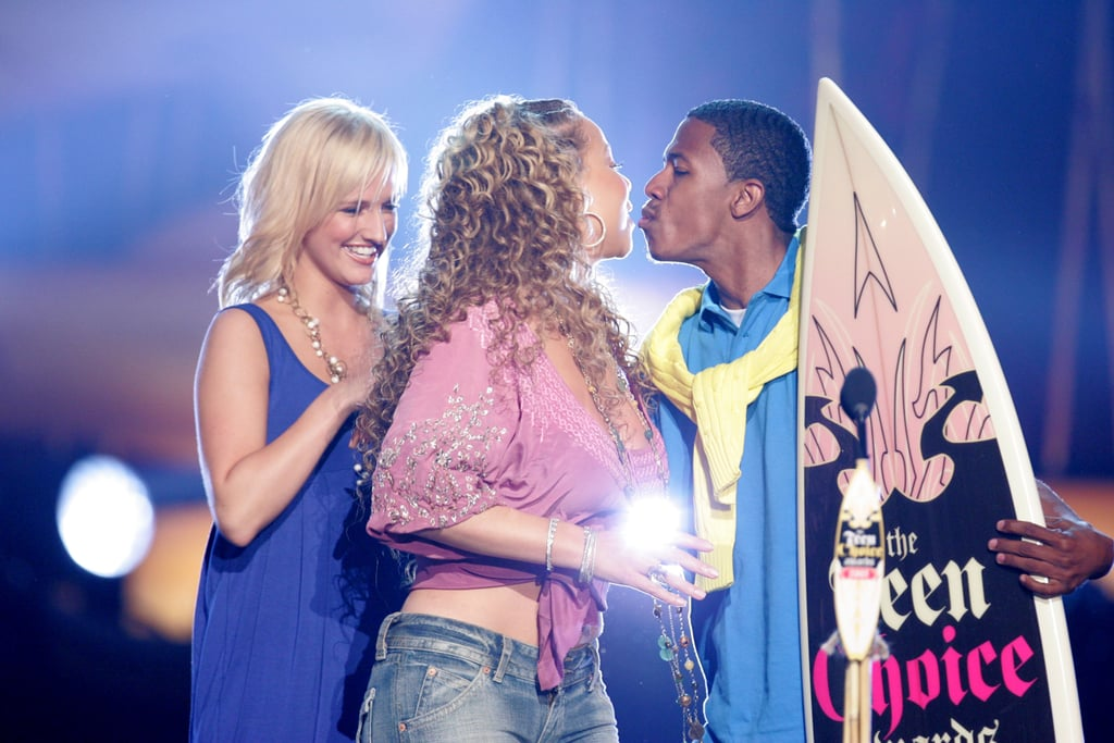 Mariah Carey and Nick Cannon stole a kiss on stage at the August 2005 Teen Choice Awards in LA.