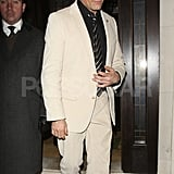 Viggo Mortensen dressed in white for a premiere party in London.