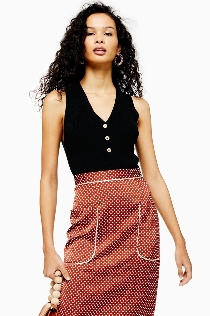 Topshop Knitted Coconut Button Vest
