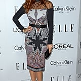Lake Bell brought the drama in a moody printed Etro sheath with a sheer inset.