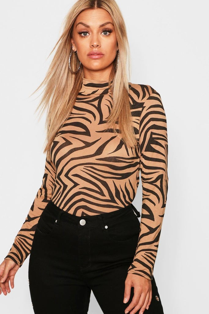 Boohoo Plus Jersey Tiger Print Roll Neck Top