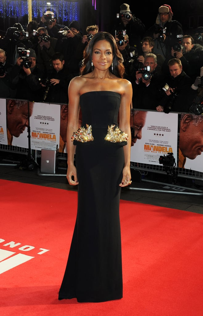Naomie Harris breathed new life into the peplum with her black column gown at the Royal Film Performance of Mandela: Long Walk to Freedom — heavy metal embellishments made the accented look ultramodern.