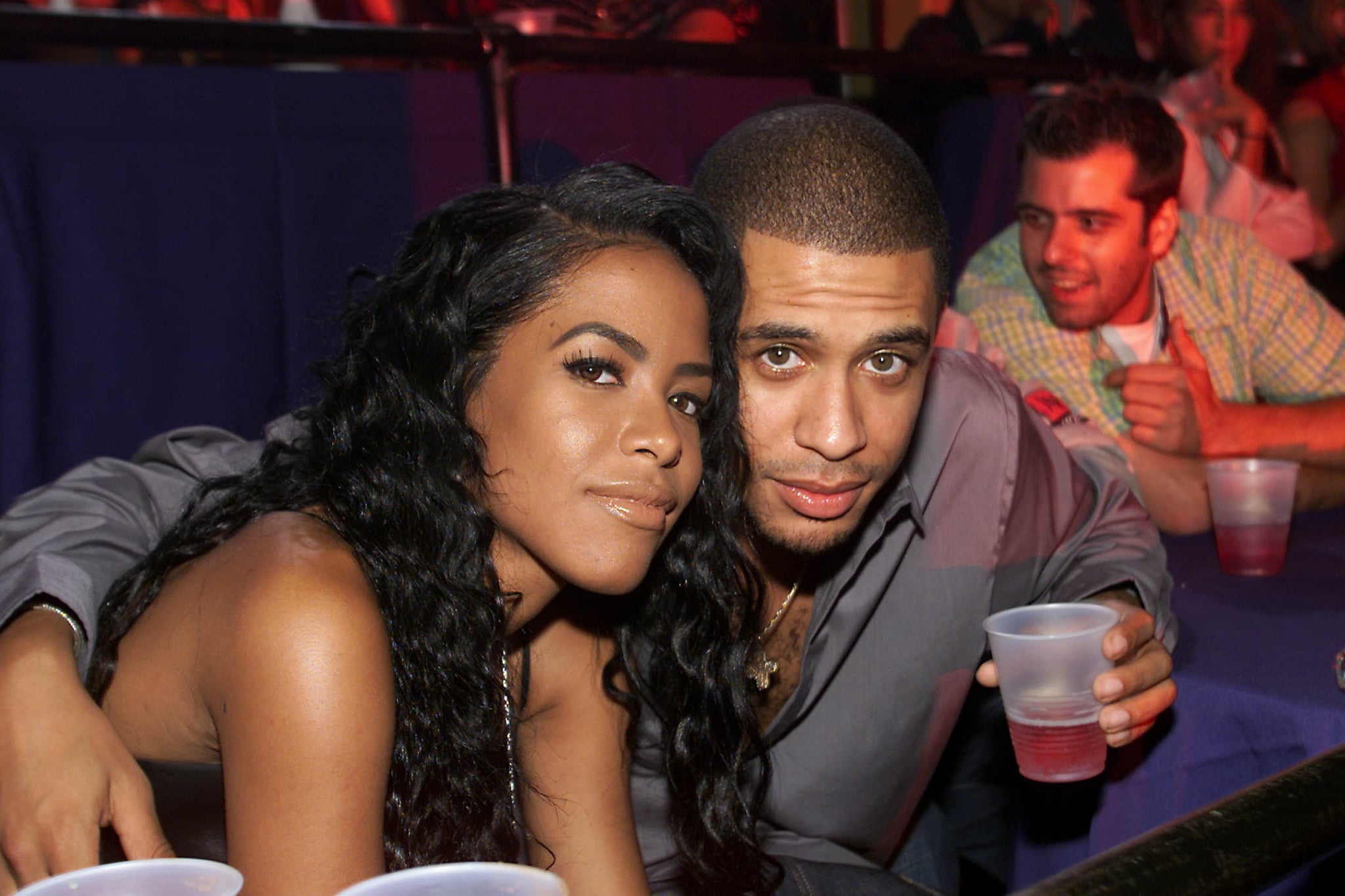 Aaliyah with her Brother at the MTV 20th Anniversary party,
