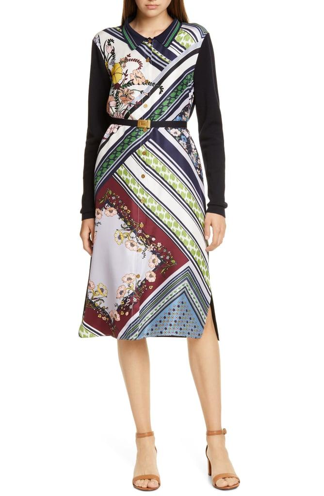 Tory Burch Silk Front Long-Sleeve Shirtdress