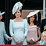 Meghan chose a balcony spot behind Kate during the 2018 Trooping the Colour.