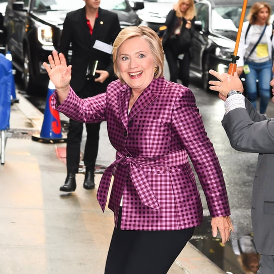 Hillary Clinton Wearing Purple Gingham Argent Blazer