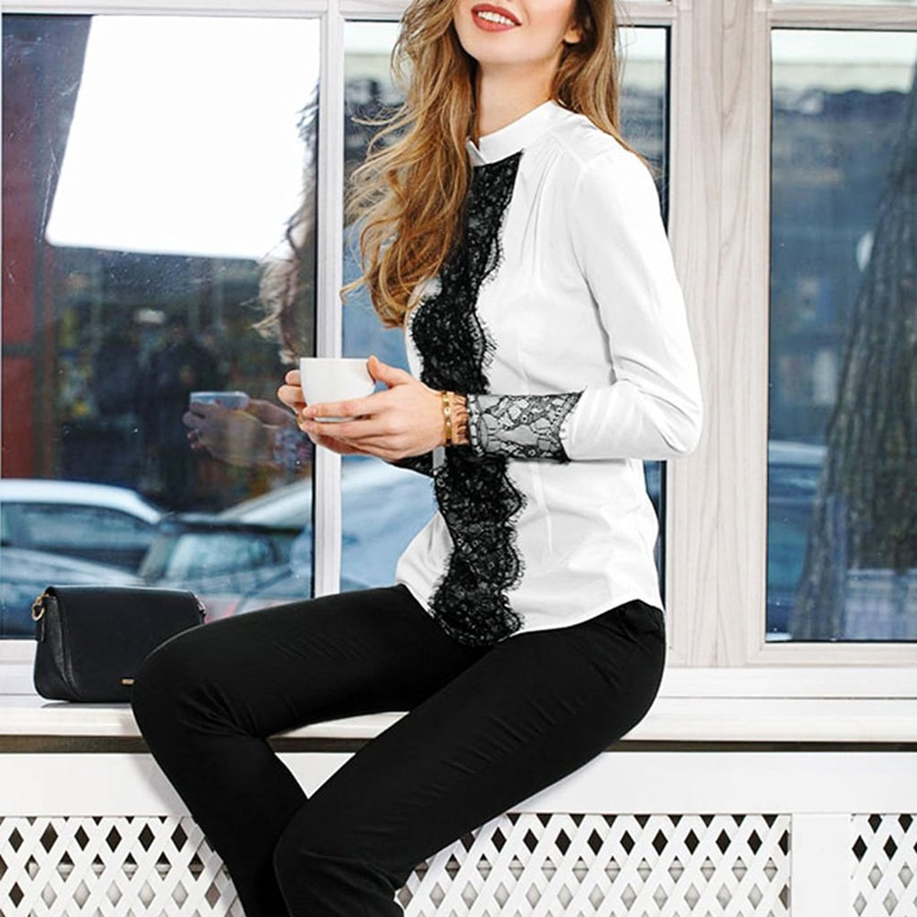 86a4198bbb1e14 Toplook White Lace Blouse | Work Tops on Amazon | POPSUGAR Fashion ...
