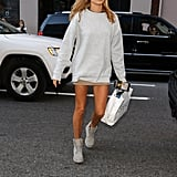 And Then Paired That Same Outfit With an Oversize Grey Jumper