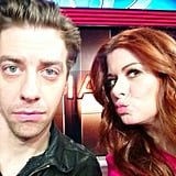 Debra Messing posed with her Smash costar Christian Borle while promoting her show. Source: Instagram user therealdebramessing