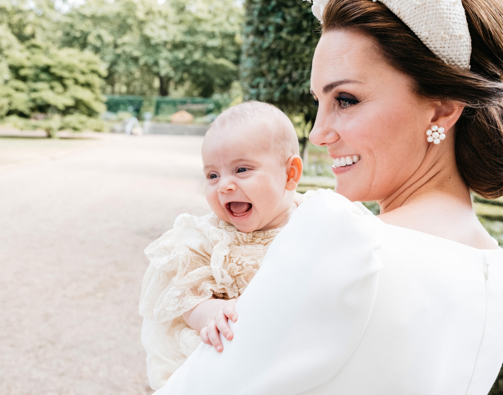 LONDON, ENGLAND - JULY 09: (NO SALES)  In this handout image released by the Duke and Duchess of Cambridge, Catherine, Duchess of Cambridge and Prince Louis pose for an Official Portrait following the christening of Prince Louis taken on the grounds of Clarence House in St James's Palace on July 9, 2018 in London, England. (Photo by CAMERA PRESS/Matt Porteous/The Duke and Duchess of Cambridge via Getty Images)  [NO USE AFTER JULY 29TH 2018.  NO FEE APPLIES.  OBLIGATORY BYLINE:   MATT PORTEOUS/CAMERA PRESS.  FOR USE IN NEWS STORIES RELATING TO THE CHRISTENING OF PRINCE LOUIS OF CAMBRIDGE ONLY.  NO USE IN CALENDARS, SOUVENIR ISSUES.  NO MERHANDISING, PRINT SALES OR COMMERCIAL USE. MAGAZINE/SUPPLEMENT USE MUST BE APPROVED VIA CAMERA PRESS AGENCY AND KENSINGTON PALACE.  IMAGE MUST NOT BE CROPPED, MANIPULATED OR ALTERED IN ANY WAY.  IMAGES MUST BE REMOVED FROM ANY DIGITAL ARCHIVE ON JULY 29TH 2018.] PAID COMMERCIAL IMAGE FOR PUBLICITY PURPOSES - FREE FOR EDITORIAL USE.