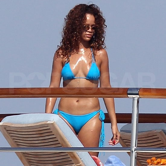 Rihanna Sports a Sexy Bright Blue Bikini in France