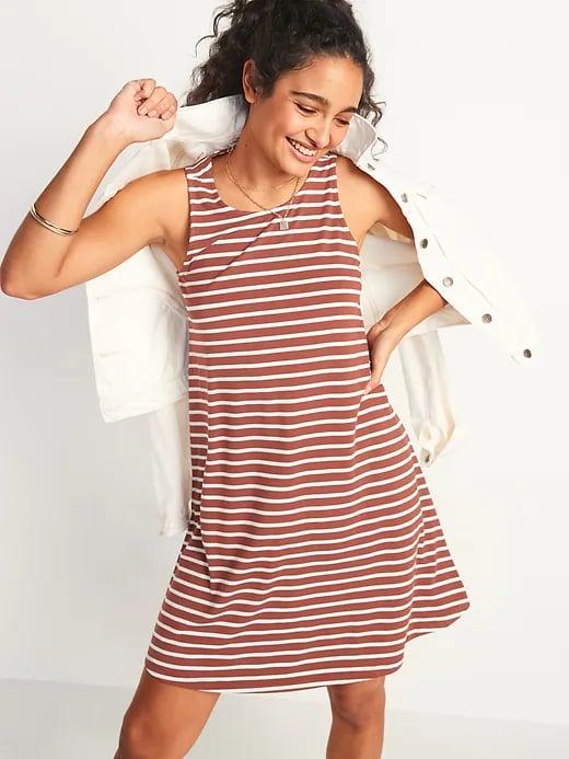 Old Navy Striped Jersey-Knit Sleeveless Swing Dress