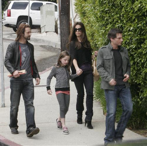 Kate Beckinsale with ex Michael Sheen and their daughter Lily. Also present  is Kate's man Len Wiseman.