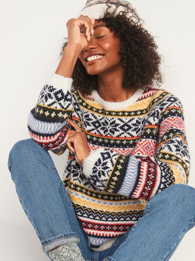 Cozy Fair Isle Blouson-Sleeve Sweater