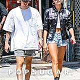 Hailey Baldwin Black Leather Jacket With Justin Bieber 2018