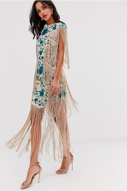 ASOS Edition Embroidered Midi Fringe Dress