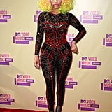 Nicki Minaj played the part in a catsuit.