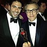 """Eli Roth said he was """"so happy"""" for his Inglourious Basterds costar Christoph Waltz's best supporting actor win for Django Unchained.    Source: Instagram user realeliroth"""