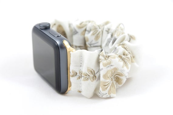Golden Flowers Scrunchie Watch Band