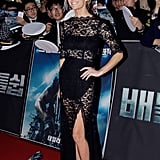 Brooklyn Decker also maxed out sheer lace with her Femme D'Armes dress, but in a much sexier silhouette than Zoe's dress.