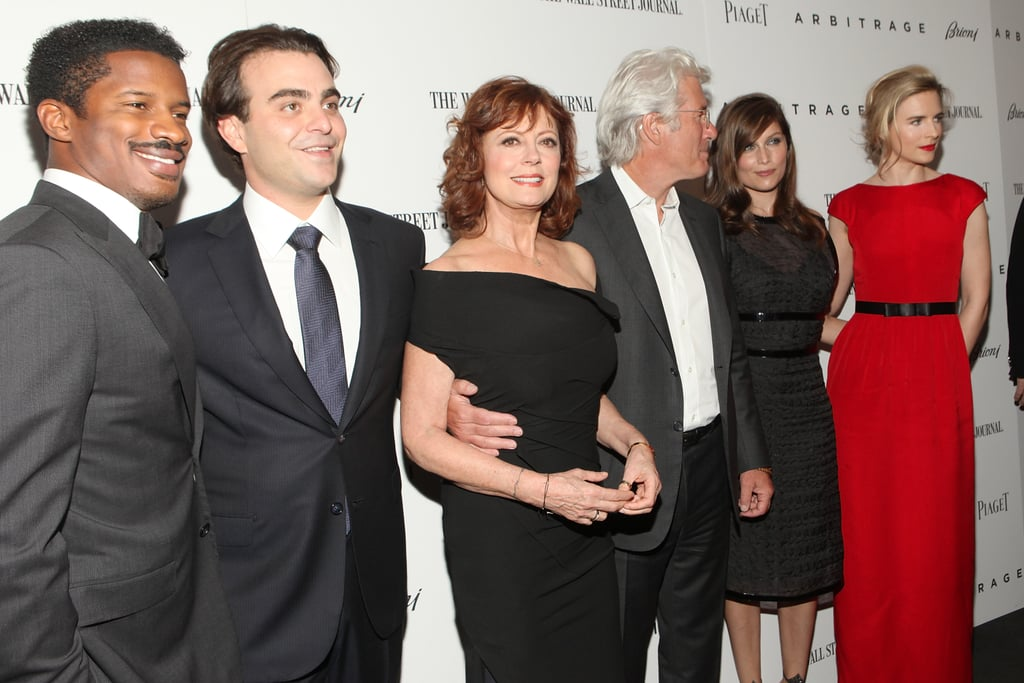 Richard Gere had his arm around Susan Sarandon while posing with Laetitia Casta and Brit Marling on the red carpet of the Arbitrage premiere in NYC.