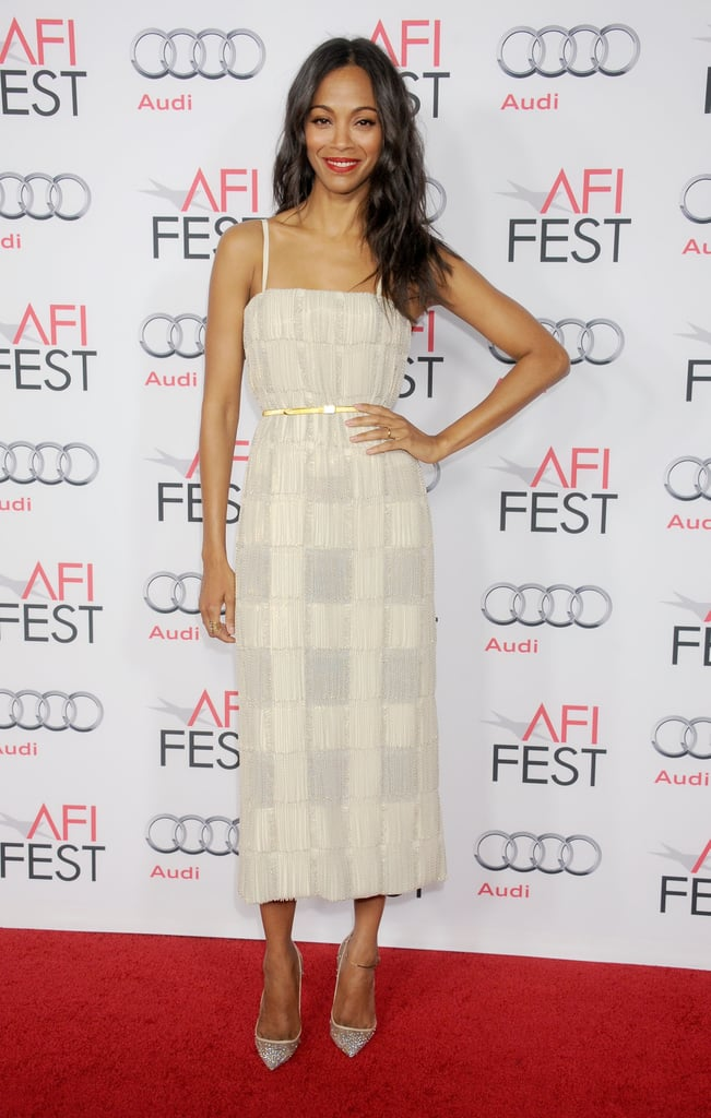 Zoe Saldana gave a lesson in subtle shimmer in a custom Calvin Klein Collection plaid chain dress at the LA premiere of Out of the Furnace.
