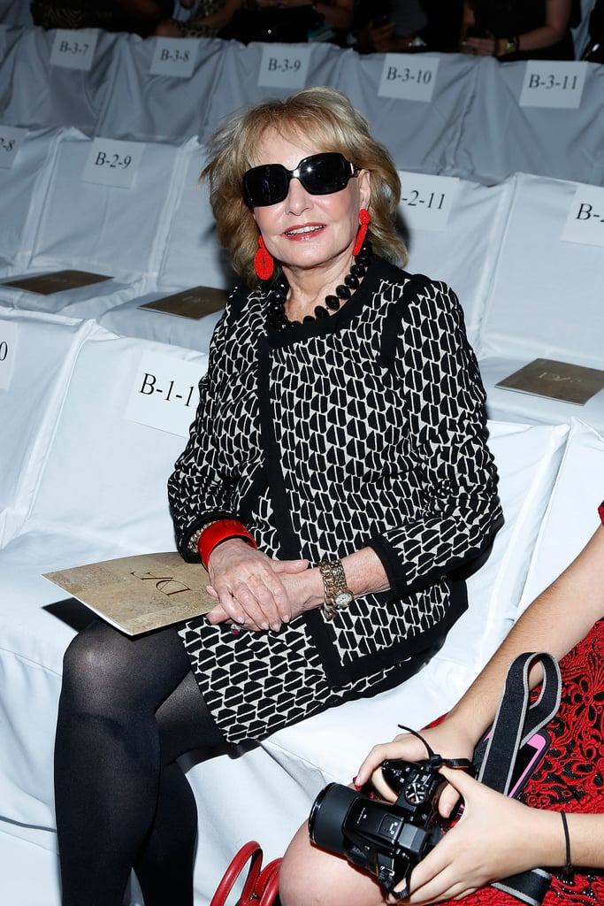 Barbara Walters took her front-row seat at DVF on Sunday.