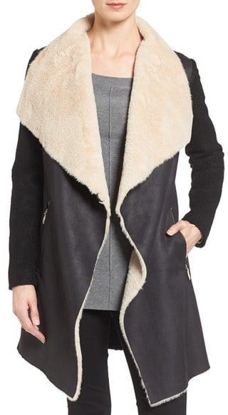 Calvin Klein Mixed Media Coat With Faux Shearling Front ($210)
