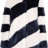 Geo Stripes Faux Fur Coat ($650)