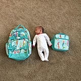 Baby vs. backpack and lunch bag.