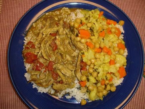 Girlc's Fragrant Chicken Curry and Indian Cauliflower Stew